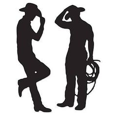 These Cowboy Silhouette Cutouts have the look of a dark shadow of a two cowboys. Each of the Cowboy Silhouette Cutouts measures 37 inches tall x 35 inches wide.