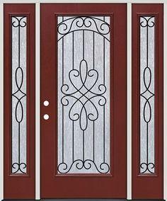 Full Lite Pre-finished Mahogany Fiberglass Prehung Door Unit with Sidelites #299