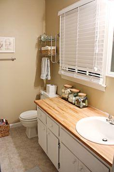 Butcher block bathroom countertop -- kind of neat Install Bathroom Sink, Bathroom Sink Vanity, Diy Vanity, Diy Bathroom Remodel, Vanity Ideas, Vanity Tops, Small Bathroom, Master Bathroom, Butcher Block Countertops