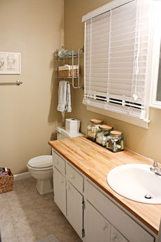 Butcher block bathroom countertop- basic bathroom/potential vanity ideas
