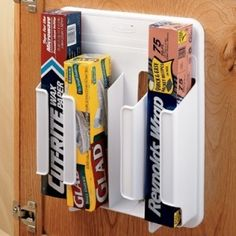 These would be great to help clear up space in cabinets. Wrap 'n Bag Organizers available at The Container Store.