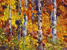 Palette Knife Painters: Autumn Explosion, Fall Colours oil painting by Marion Hedger