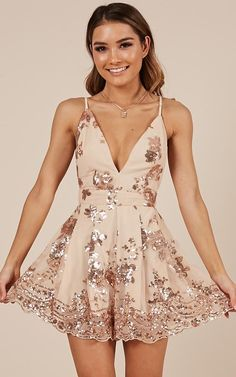 Gold homecoming dress - Rose Gold Sequin Homecoming Dresses Party Dresses from lovedress – Gold homecoming dress Hoco Dresses, Blue Wedding Dresses, Pretty Dresses, Sexy Dresses, Elegant Dresses, Rose Gold Homecoming Dress, Rose Gold Dresses, Summer Dresses, Homecoming Romper