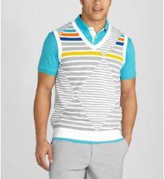 Argyle Striped Golf Sweater Vest