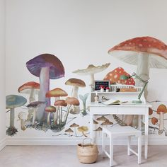 Giant mushrooms will have you feeling like you're in a land of wonder. The sideways repeatable design plays with perspective and has the potential to dwarf an entire room. Whether you're a little or a big kid, these giant mushrooms will have you feeling like you're in a land of wonder.  Great wall decor for your lounge, living room, bedroom, or any other space to dive in the wonder shade of these majestic mushrooms. Bedroom Murals, Kids Bedroom, Wall Murals, Nursery Room, Kids Rooms, Murals For Kids, Wall Wallpaper, Kids Decor, Designer Wallpaper