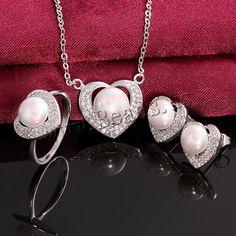 Favourer® ensemble de bijoux, bague, anneau & boucle d'oreille & collier, laiton, avec coquille de mer du sud