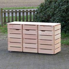 3er Mülltonnenbox Douglasie Natur