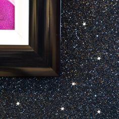 Biggest range of glitter fabric wallpaper. Over 120 colours of glitter wallpaper. Black Glitter Wallpapers, Glitter Accent Wall, Glitter Wallpaper Bedroom, Black Accent Walls, Grey Walls, Luxury Wallpaper, Glitter Bathroom, Glitter Room, Glitter Crafts
