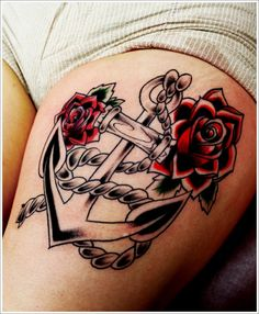 Fantastic Anchor Tattoo Designs and Meaning: Navy Anchor Tattoo Meaning And Designs For Girl On Thigh ~ Tattoo Design Inspiration