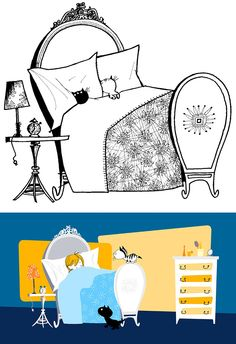 """Top: Original """"Pim and Pom"""" drawing by Fiep Westendorp (ca. 1967, ©Fiep Amsterdam bv, Fiep Westendorp Illustrations); bottom: Still from the movie """"Pim and Pom: The Big Adventure"""" (2014)"""
