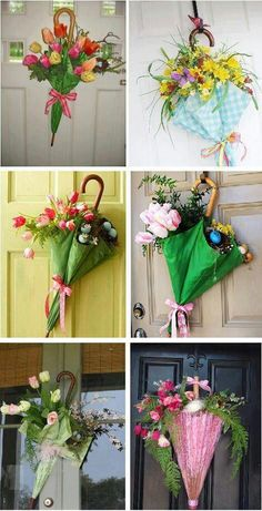 This world be a cute front door hanging Nice for a bridal shower -- Spring decorations, making door hangings or wreaths from umbrellas and spring flowers! What an easy 'wreath' idea for spring! If I can just find a damn umbrella I like or boots! Wreath Crafts, Diy Wreath, Door Wreaths, Decoration St Valentin, Umbrella Wreath, Spring Door, Deco Floral, Front Door Decor, Summer Wreath