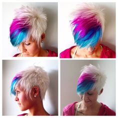 Pink, Blue and Platinum Blonde Pixie Cut