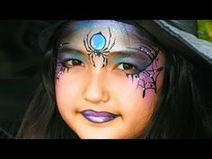 Witch face painting tutorial - Pretty witch and spider makeup for Halloween Witch Face Paint, Mime Face Paint, Halloween Makeup Witch, Halloween Make Up, Halloween Ideas, Pretty Witch Makeup, Reindeer Makeup, Spider Makeup, Youtube Halloween