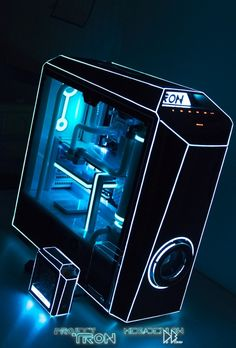 Megadeblow just delivered Project Tron at our doorstep. This is one of the best mods we've seen, its amazing what he did on this MasterCase Maker 5 with all the light details. Gaming Pc Build, Pc Gaming Setup, Gaming Pcs, Computer Setup, Pc Setup, Computer Case, Gaming Computer, Pc Gamer, Pc Image
