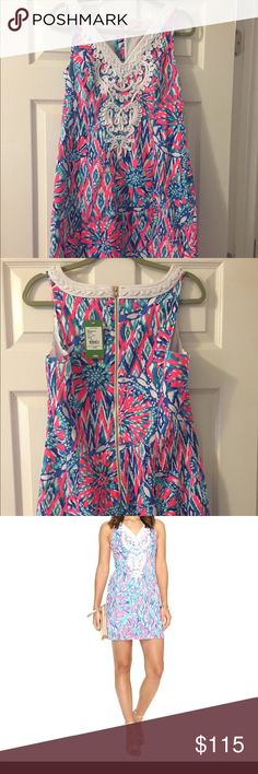 Lilly Pulitzer NWT Gabby Shift Dress NWT Gabby Shift dress in pattern, Tiki Pink Shake it Up. This is the perfect party dress you'll want to wear all season. Flattering dress with gorgeous print and details. This is a sleeveless Shift dress with side slots, white soutache detailing at neckline and exposed back zipper. Lilly Pulitzer Dresses