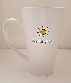 fa875d78f52 IT'S ALL GOOD Giant Jumbo Latte Tall Coffee Cup Mug Hot Chocolate Office  Drink Mug White / Yellow 10 Strawberry Street