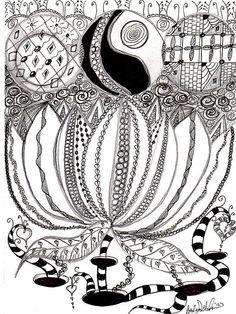 Lotus flower zentangle inspired art