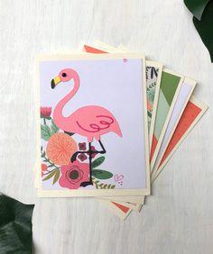Flamingo Stationery - Set of 5 Handmade Notecards, Flamingo Print, South Beach Print by HotWheelsAndGlueGuns