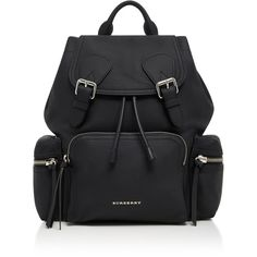 Burberry Rucksack Medium Leather Backpack ($1,995) ❤ liked on Polyvore featuring bags, backpacks, backpack, black, purses, military style backpack, genuine leather backpack, day pack backpack, real leather backpack and leather daypack