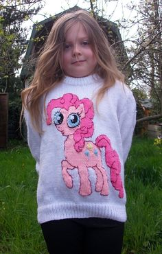 My little pony Pinky Pie Child's jumper. by KnittingPrettily Knitting Patterns Boys, Baby Cardigan Knitting Pattern, Jumper Patterns, Knitting For Kids, Double Knitting, Knitting Yarn, Baby Sweaters, Girls Sweaters, Stitch Toy