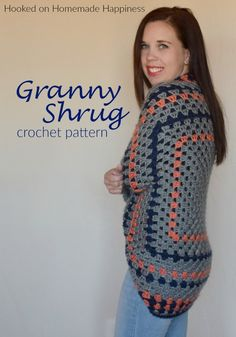 Granny Shrug Crochet Pattern - The Granny Shrug Crochet Pattern uses the classic granny square to make this cute and cozy sweater. Easy Crochet Shrug, Pull Crochet, Crochet Simple, Gilet Crochet, Mode Crochet, Crochet Cardigan Pattern, Crochet Shawl, Crochet Patterns, Crochet Shrugs