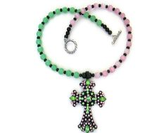 rhinestone cross necklace pink and green cut by DancewithJewels