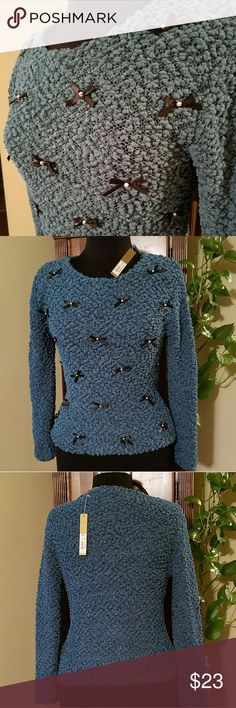 NWT, LC Conrad, Turq Bow Sweater New with tags! Turquoise and silver puff sweater with pearl and black bows on front. LC Lauren Conrad Sweaters Crew & Scoop Necks