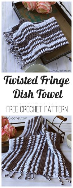 Free crochet dish towel pattern | The Twisted Fringe Dish Towel from Cute As A Button Crochet | A cotton crochet towel made to look like a striped tea towel. Includes tutorial for completing the twisted fringe. #caabcrochet #freecrochetpattern #crochetdishtowel