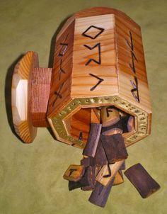 Elderberry Wood Rune Set and Cedar Wood Casting Cup by Nothos on Etsy