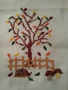 My version of stickeule's pattern :) Fall Cross Stitch, Cross Stitch Tree, Simple Cross Stitch, Cross Stitch Animals, Cross Stitch Flowers, Cross Stitch Charts, Cross Stitch Designs, Cross Stitch Patterns, Cross Stitching