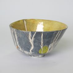 farhill birches spring (open):chawan x x Birches, Chawan, Earthenware, New Work, Serving Bowls, Ceramics, Spring, Tableware, Porcelain