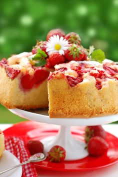Fresh Strawberry Upside Down Cake - An easy 4 ingredient recipe made with cake mix!