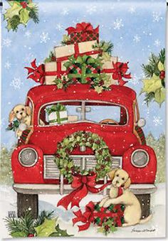 Here is a Christmas style garden flag that features a bright, red, antique pickup truck, all loaded down with beautifully wrapped Christmas presents. Christmas Puppy, Christmas Truck, Christmas Banners, Outdoor Christmas Decorations, Christmas Wreaths, Christmas Presents, Christmas Labels, Christmas Ornaments, Christmas Garden Flag