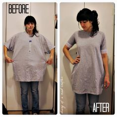 Easy T-Shirt remodel! Wear it with a belt and tight jeans, or as a dress!