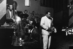 Charles Mingus, Roy Haynes, Thelonious Monk and Charlie Parker playing at the Open Door, in New York in 1953.