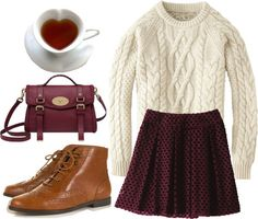 Thick sweater & flowy skirt.