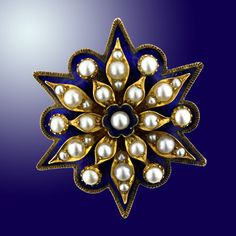 Victorian Cobalt Blue Enamel and Natural Pearl Pin/Pendant - 50-1-2623 - Lang Antiques