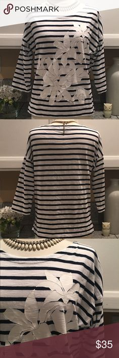 J.Crew Striped and Flower Top Very Cute navy/white stripe with overprint White flowers.  Perfect for this summer to pair with your favorite white shorts or jeans. In excellent condition. J. Crew Tops