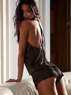 Sexy black satin lingerie from Victoria's Secret
