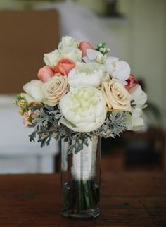 White and peach bouquet // photo by Kallima Photography, see more: http://theeverylastdetail.com/romantic-coral-florida-wedding/