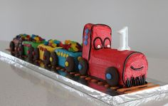 "Amanda Bayley: ""My version of the womens weekly cake for my son's birthday. Trains Birthday Party, Train Party, Birthday Stuff, 2nd Birthday Parties, It's Your Birthday, Birthday Ideas, Mickey Mouse Birthday Cake, Birthday Cakes, Train Cakes"