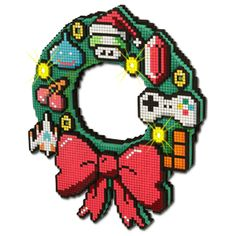 8-bit, LED wreath.  I bet I could cross-stitch my own; maybe even make it light up using batteries.