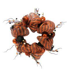 Maker's Halloween Halloween Mesh With Pump Wreath Orange