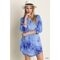 Dreamy Blue Tie Dye Shirt Dress ($39) ❤ liked on Polyvore featuring dresses, blue shirt dress, tye dye dress, tie dye shirt dress, blue tie dye dress and three quarter sleeve dress