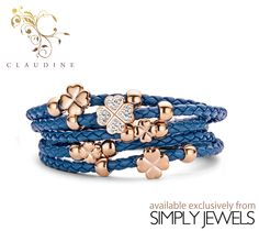 #Claudine Blue CZ Clover #Leather #Bracelet with Rose Plated Stainless #Steel -xx- #brandnew #jewellery #collection #online #shopping http://simplyjewels.biz/view_product.php?id=2258