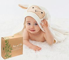 """American Kiddo Premium (600 GSM) 48"""" x 28"""" Baby Hooded Towel & Washcloth Set 