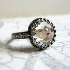 Vintage Swarovski Bling Ring Oxidized Sterling Silver