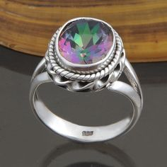 FINE JEWELLERY 925 STERLING SILVER Rainbow Mystic FANCY RING 4.44g DJR8650 S-6 #Handmade #Ring
