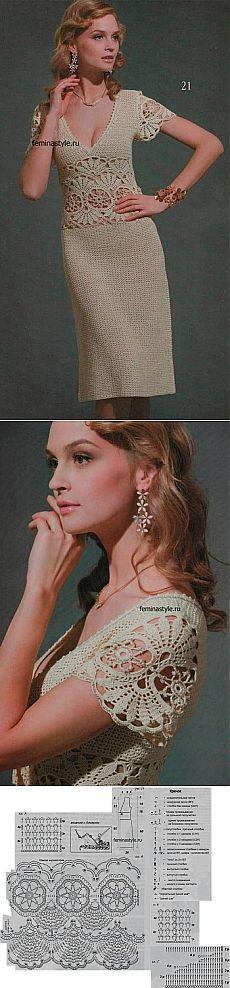 Вязание крючком элегантного летнего платья.