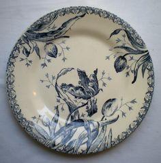 Assiette Dessert ART Nouveau Terre DE FER Porcelaine Opaque Gien Tulipes Bleues | eBay